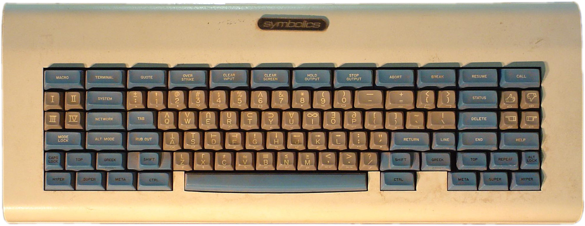 "The [:a {:href ""https://en.wikipedia.org/wiki/Space-cadet_keyboard""} (""Space Cadet keyboard"")], for Lisp machines ca. 1980"